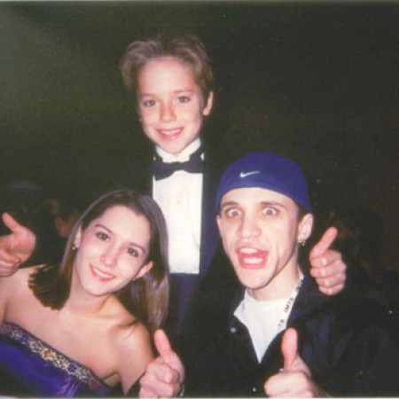 With the star of Peter Pan and Frailty, Jeremy Sumpter, at the IMTA awards in Los Angeles (January 2001)