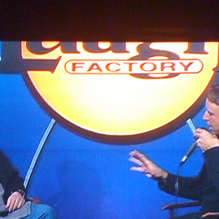 Being interviewed after my set by Kevin Nealon at the Hollywood Laugh Factory