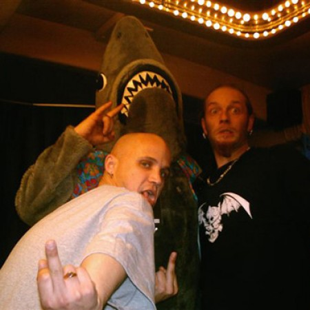 """On the Slipknot tour bus with my bro Sol and the """"Shark Shot Dude"""" - March 2005 Tampa, Fl. (THANKS SOL!!!)"""